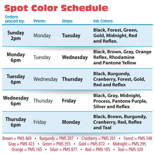 Spot Color Schedule 3